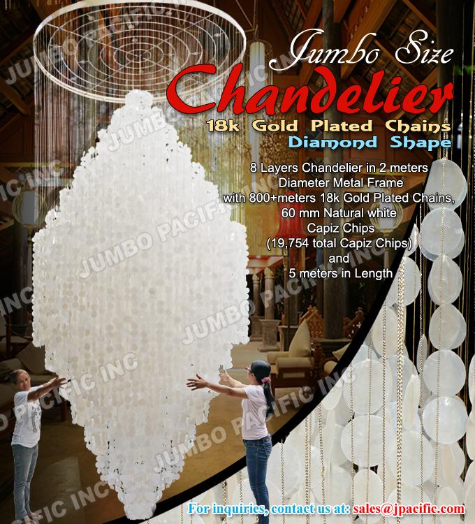 Jumbo Size Capiz Chandelier in diamond design