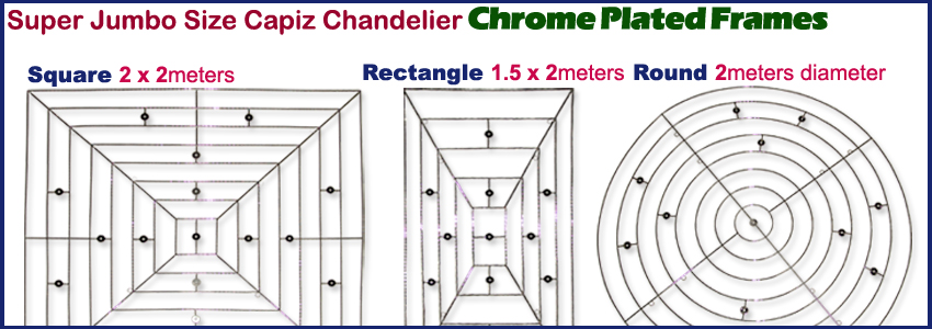 2x2 chrome plated metal frames for capiz chandelier