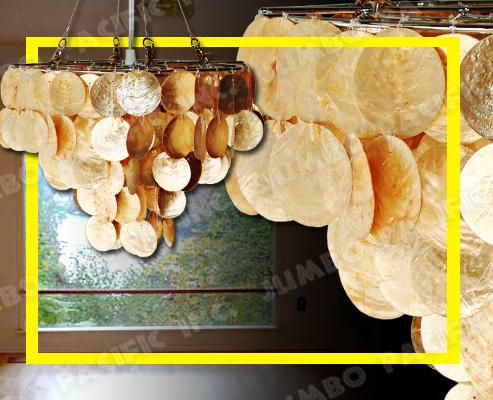 Hanging Gold Capiz Chandelier