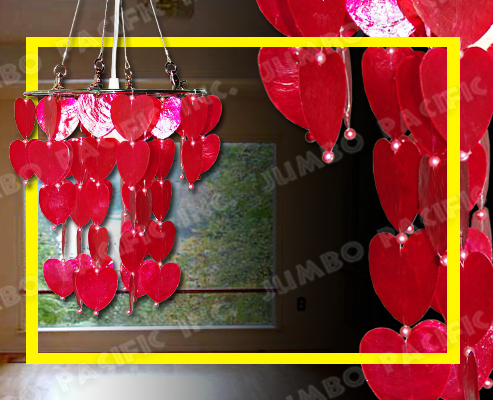 Hanging Red Capiz Chandelier