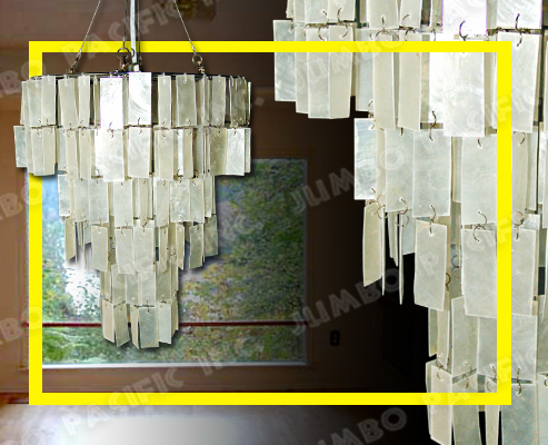 Hanging Rectangular Capiz Chandelier