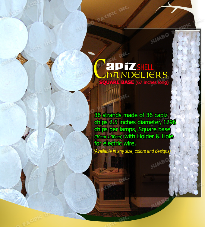 Wooden Base Capiz Hanging Chandelier
