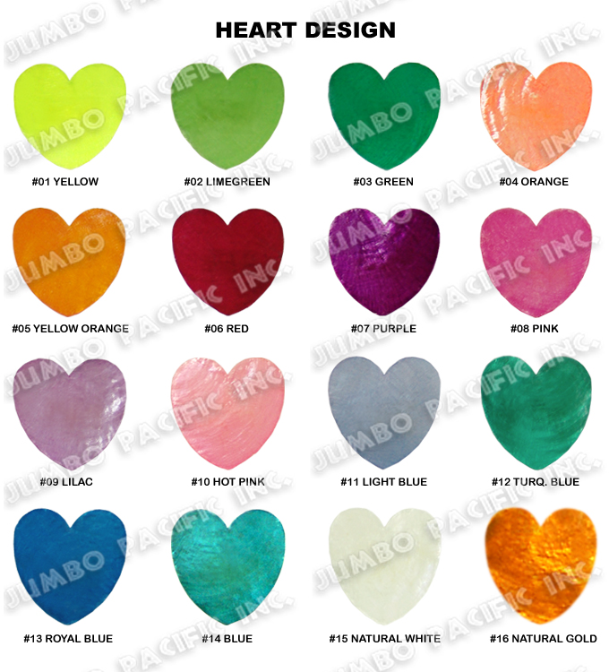 Colored  Capiz Chips Heart Shapes